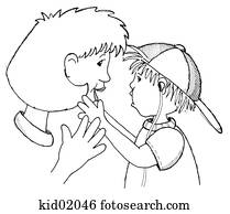 Illustration of child with respiratory therapist. Drawing