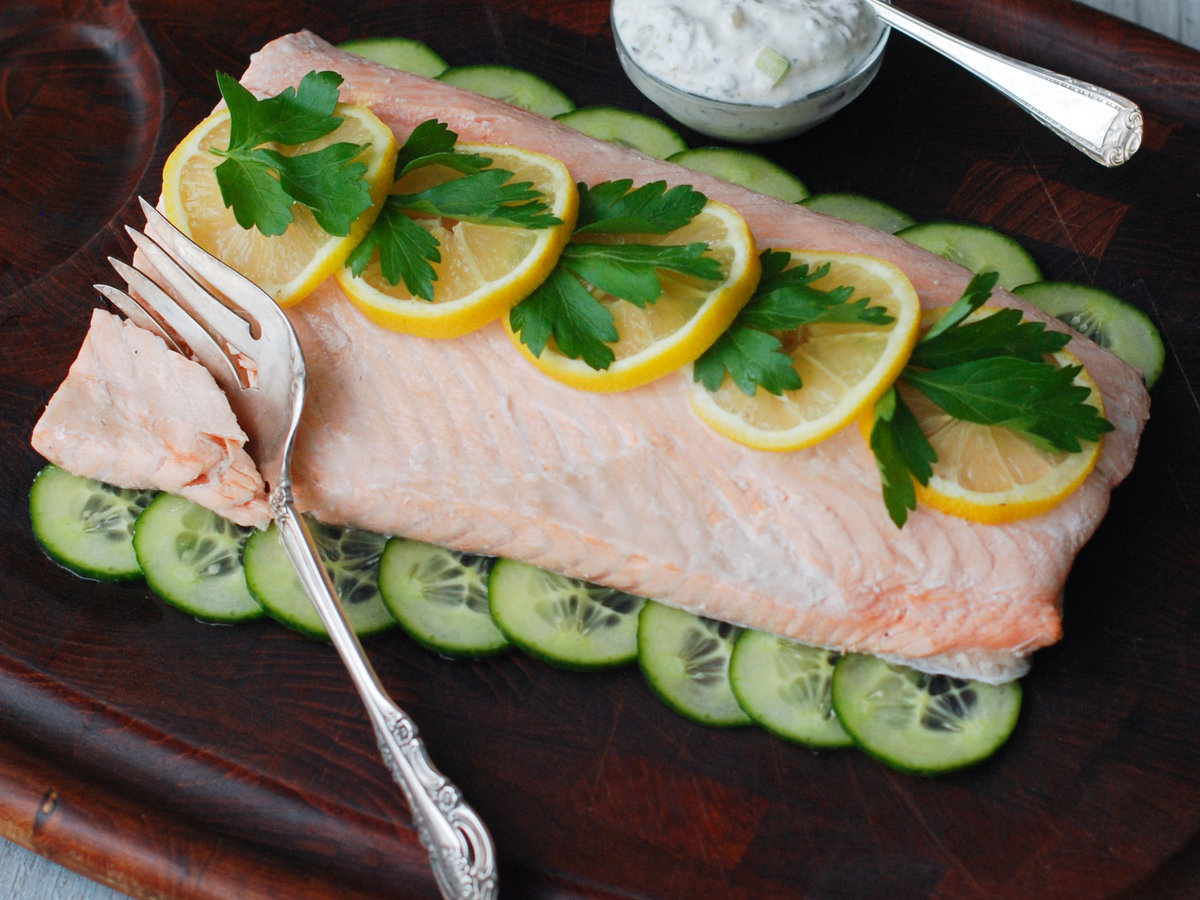 Cold Poached Salmon Recipe  Andrew Zimmern  Food  Wine