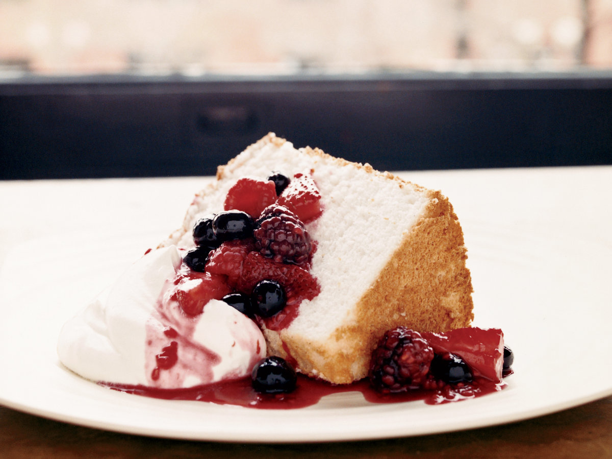 Angel Food Cake with ThreeBerry Compote Recipe  Kimbal