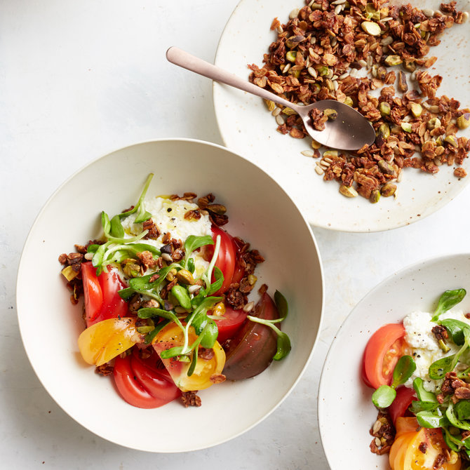 Food & Wine: Heirloom Tomatoes with Ricotta and Savory Granola