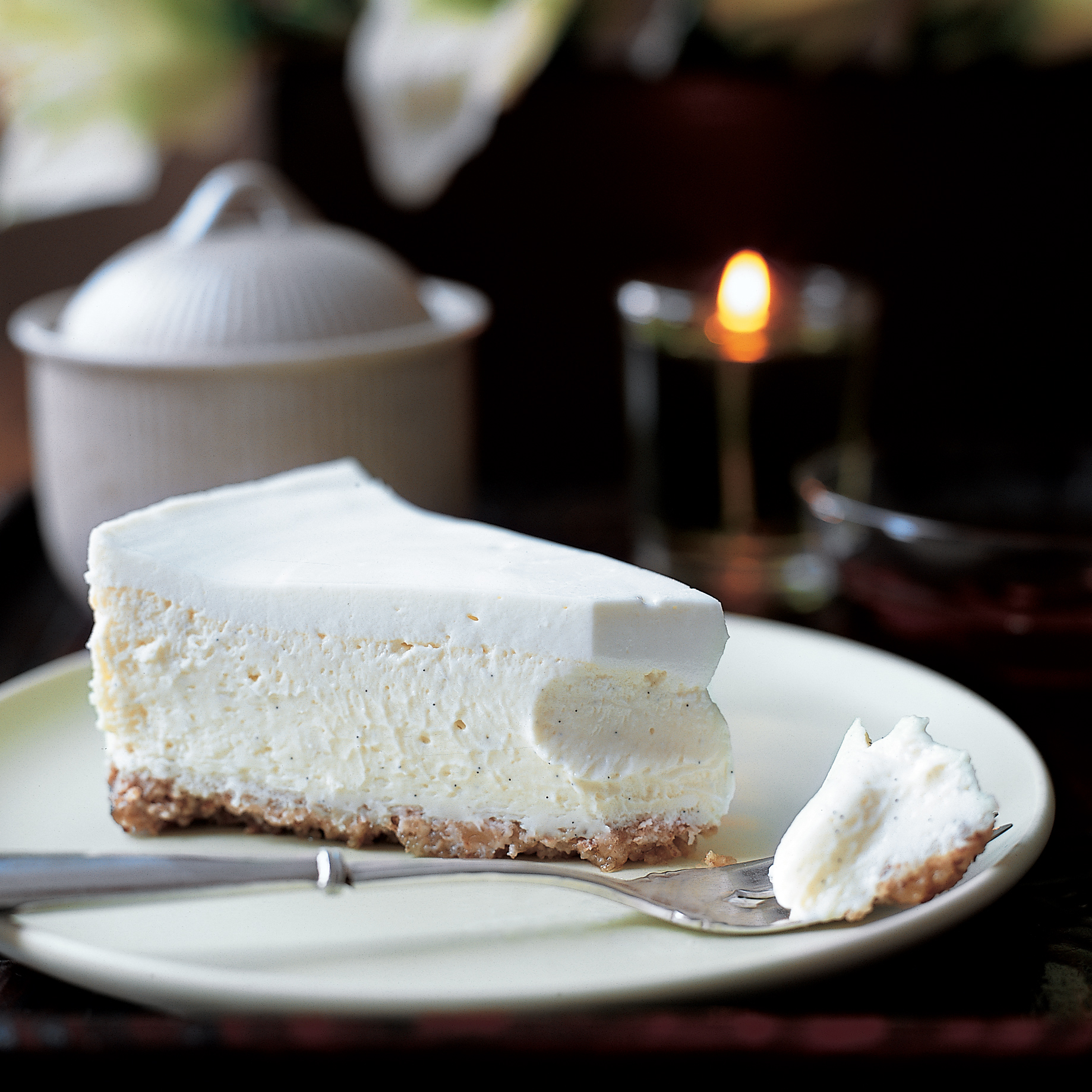 Vanilla Bean Cheesecake with Walnut Crust Recipe  Peggy Cullen  Food  Wine