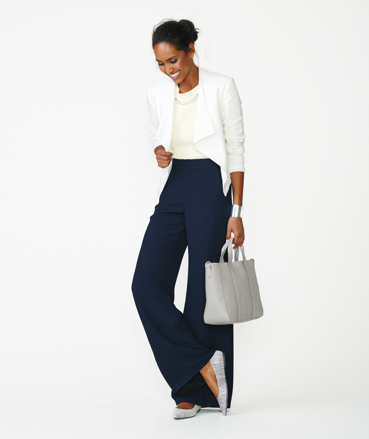 Image result for wide legged pants and blazer