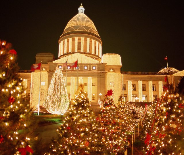 Usa Arkansas Little Rock State Capitol Christmas Time Night