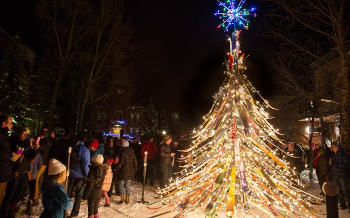 The Ski Tree in Telluride,  Colorado | Not all Christmas trees are glittering, light-filled pines. Some are made of chainsaws or sand. Others are towering collections of skis and tumbleweeds. Read on for the world's strangest Christmas trees.