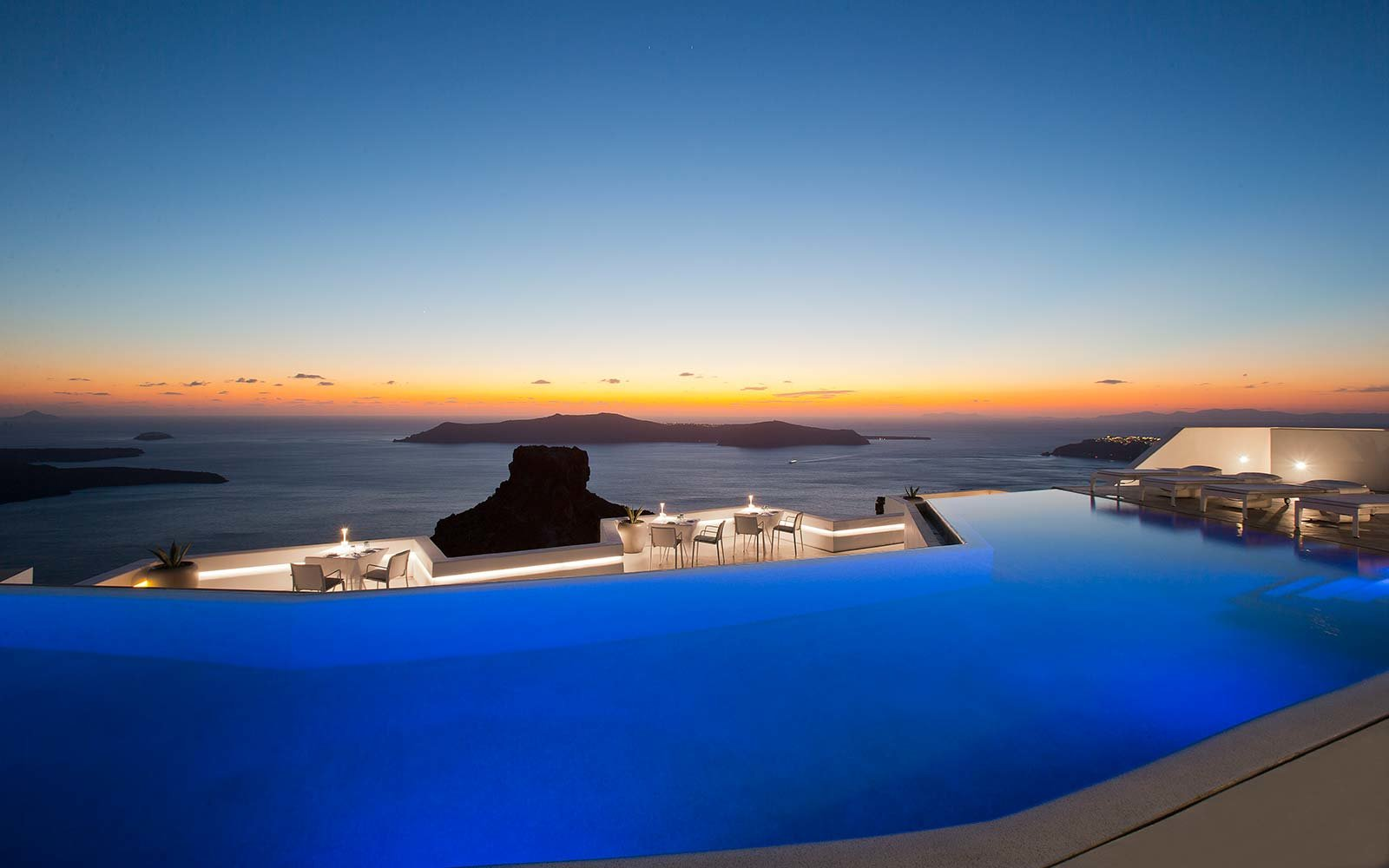 Swim Over Volcano In Santorini' Largest Infinity Pool