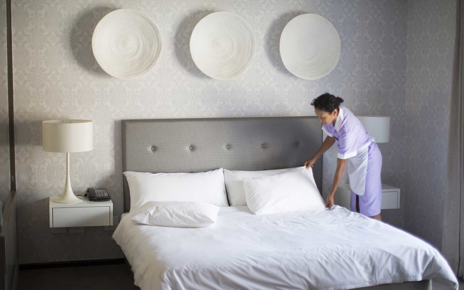 Hotel Housekeeping Making Bed
