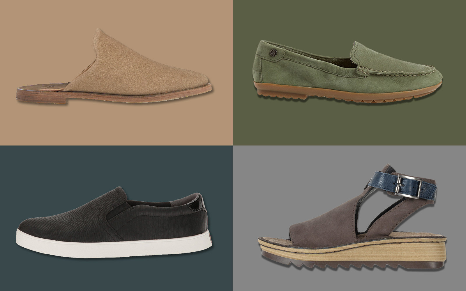 Suede Slip On Womens Shoes