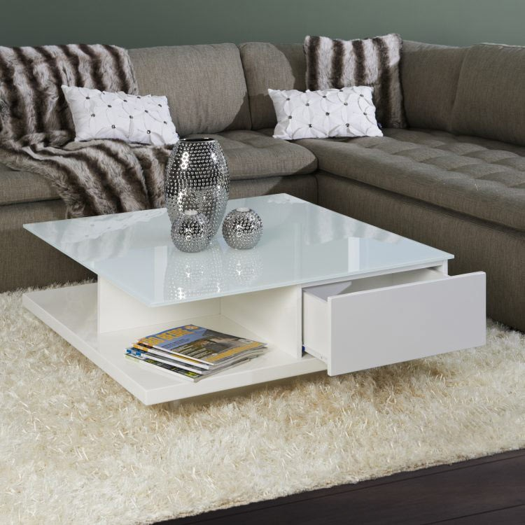 Couchtisch  Schubladen  Glasplatte Wei Hochglanz Wohnzimmer Couch Sofa Tisch  eBay