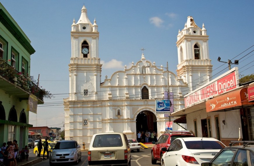 Architecture In Panama Image: This beautiful white cathedral is rather simple for its style, and is just another part of this busy city street.