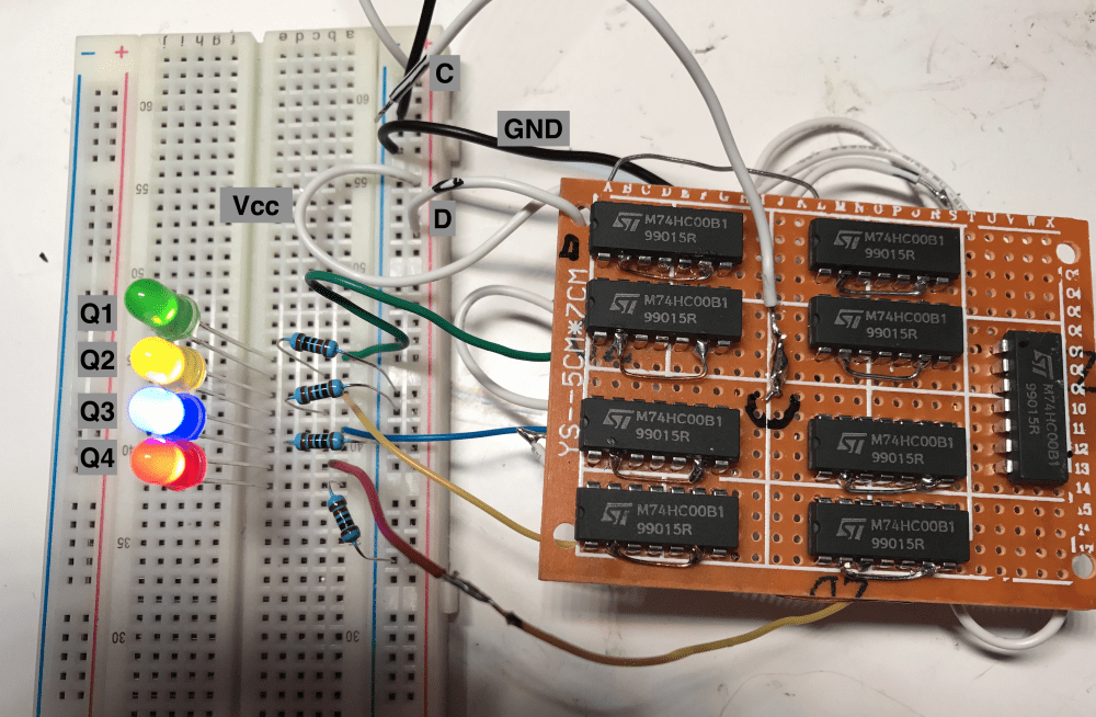 Synchronous Clocked D Flip Flop Breadboard Circuit From Nand Gates