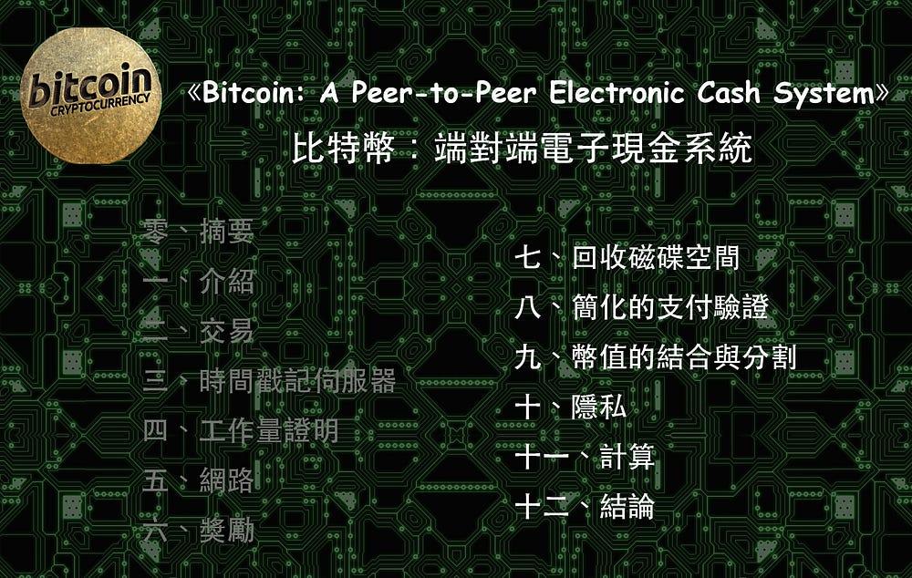 《比特幣:端對端電子現金系統》(Bitcoin: A Peer-to-Peer Electronic Cash System)II