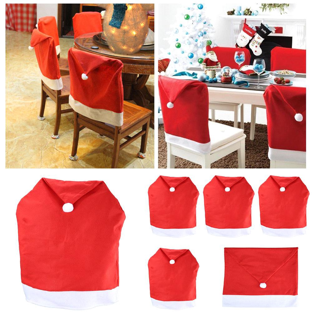 chair cover christmas decorations big and tall desk chairs cheap decoration ideas for kitchen simply elegant decorate your dining with covers you can use charming felt santa claus hats as toppers or creativity in making