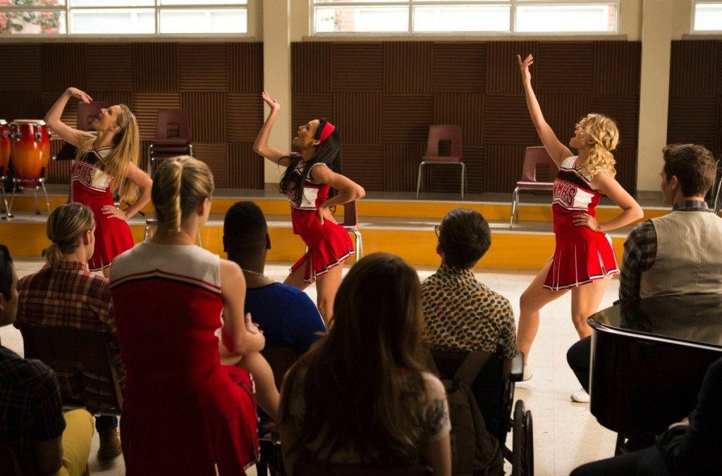 "GLEE: Brittany (Heather Morris, L). Santana (Naya Rivera, C) and Quinn (Dianna Agron, R) perform in the ""100"" episode of GLEE airing Tuesday, March 18 (8:00-9:00 PM ET/PT) on FOX. ©2014 Fox Broadcasting Co. CR: Adam Rose/FOX"