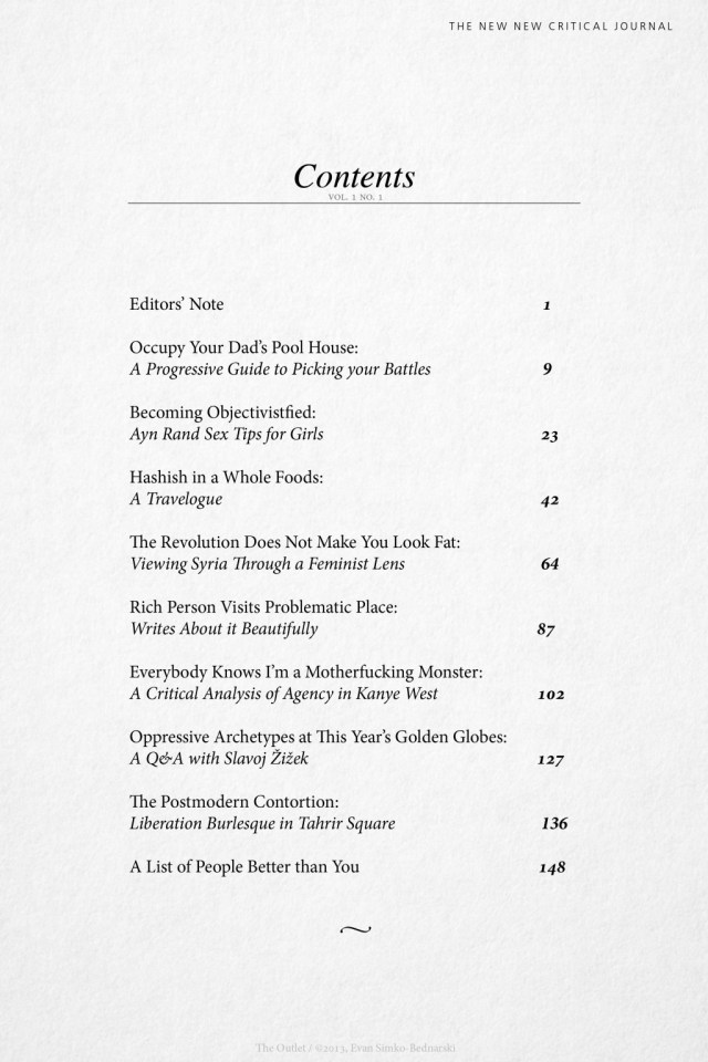 TOC from The New New Critical Journal