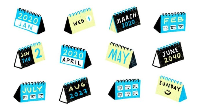 Illustration of 2020 desk calendars, month by month
