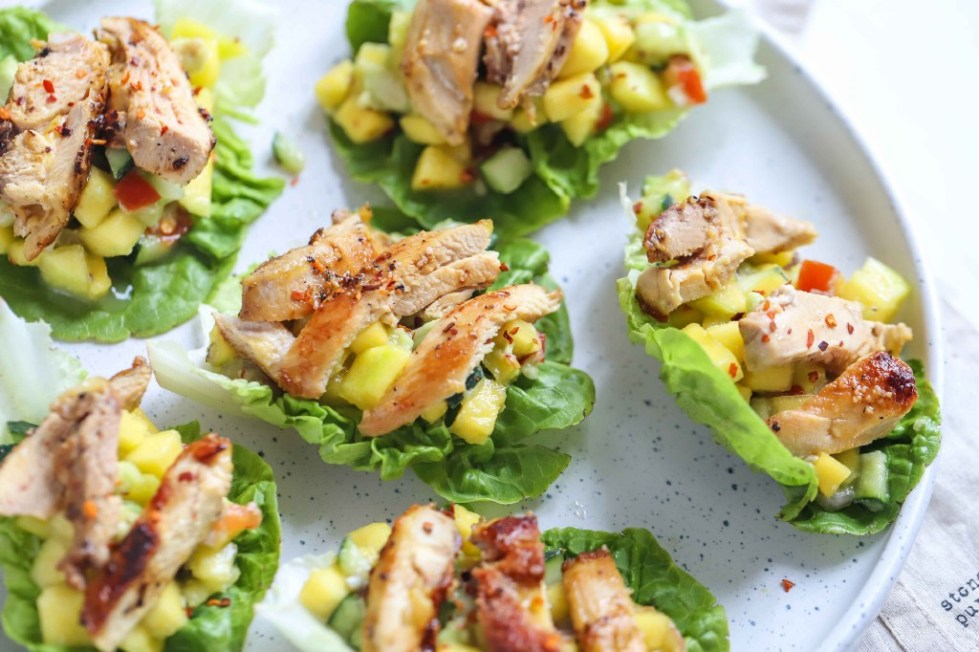 Chicken & Mango Salsa Lettuce Wraps by FIT & NU