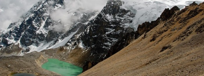 Best Hikes In Peru Image: The turquoise pool of the hot spring sits is secluded in the mountain's landscape.
