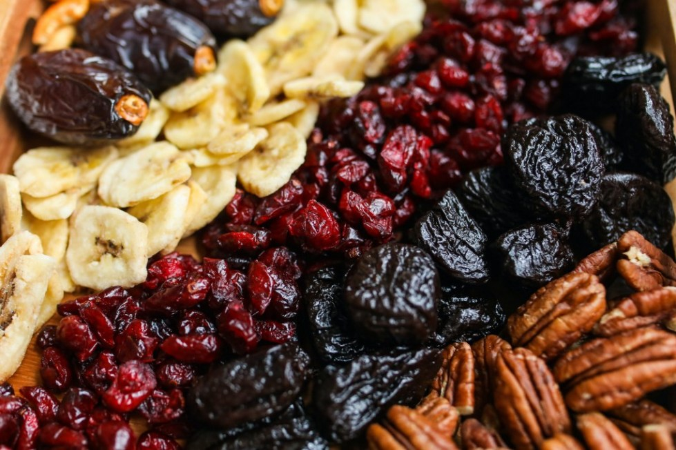 A colorful assortment of dried fruits and nuts