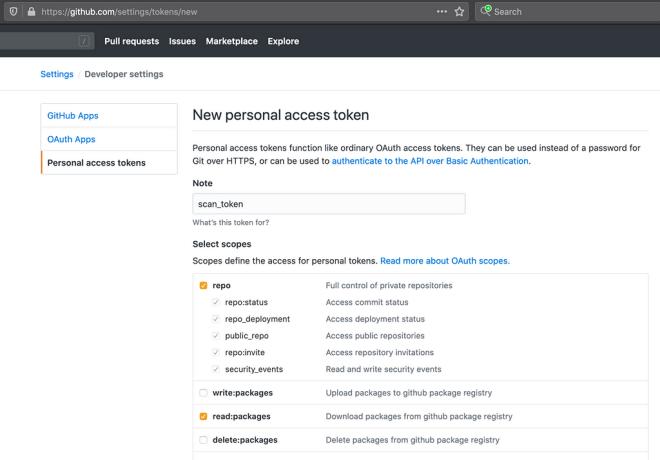 GitHub personal access token settings