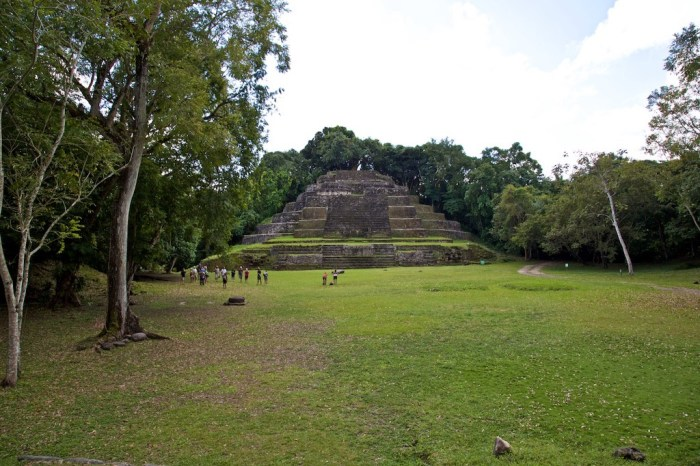 Central and South American Ruins Image: A group of people is dwarfed by a pyramidical structure in the background, and the surrounding forest.