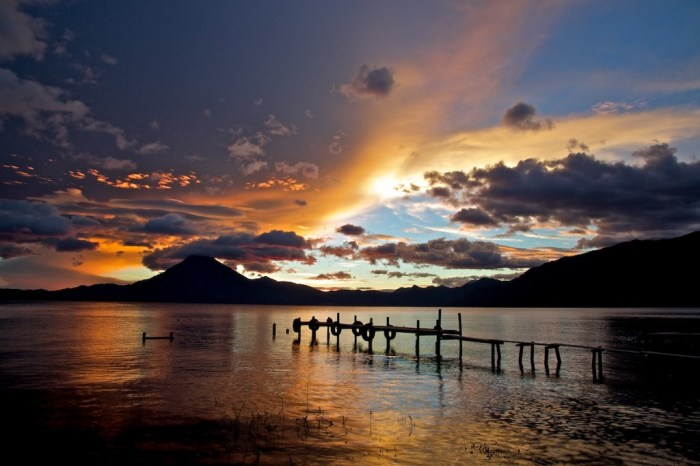Mystical Destinations Image: An image of Lake Atitlán is caressed by low light.