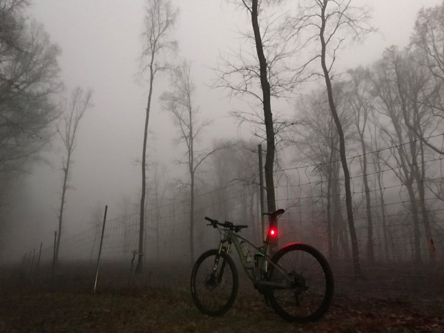 Bike in the fog.