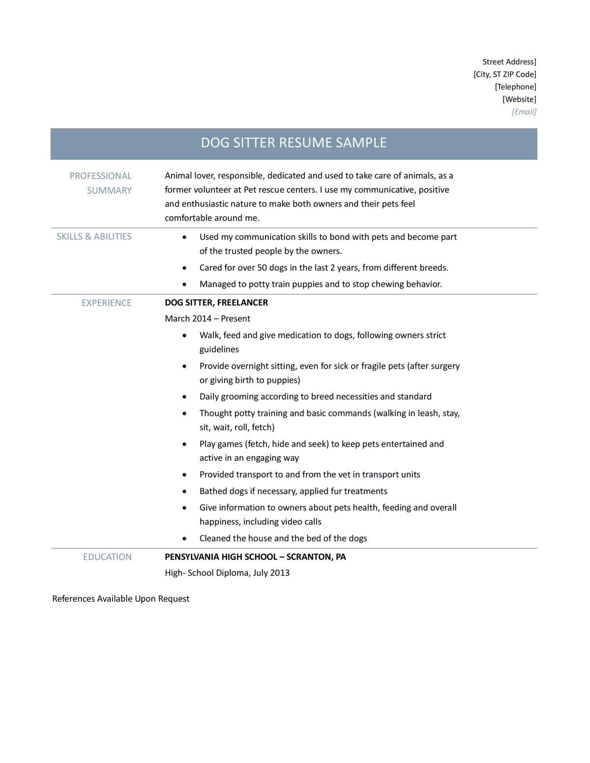 Dog Sitter Resume Samples Tips And Template – Online