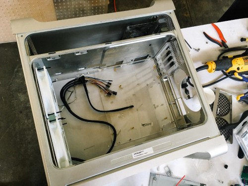 small resolution of left front panel cable harness clear motherboard tray and rear adapter plate installed
