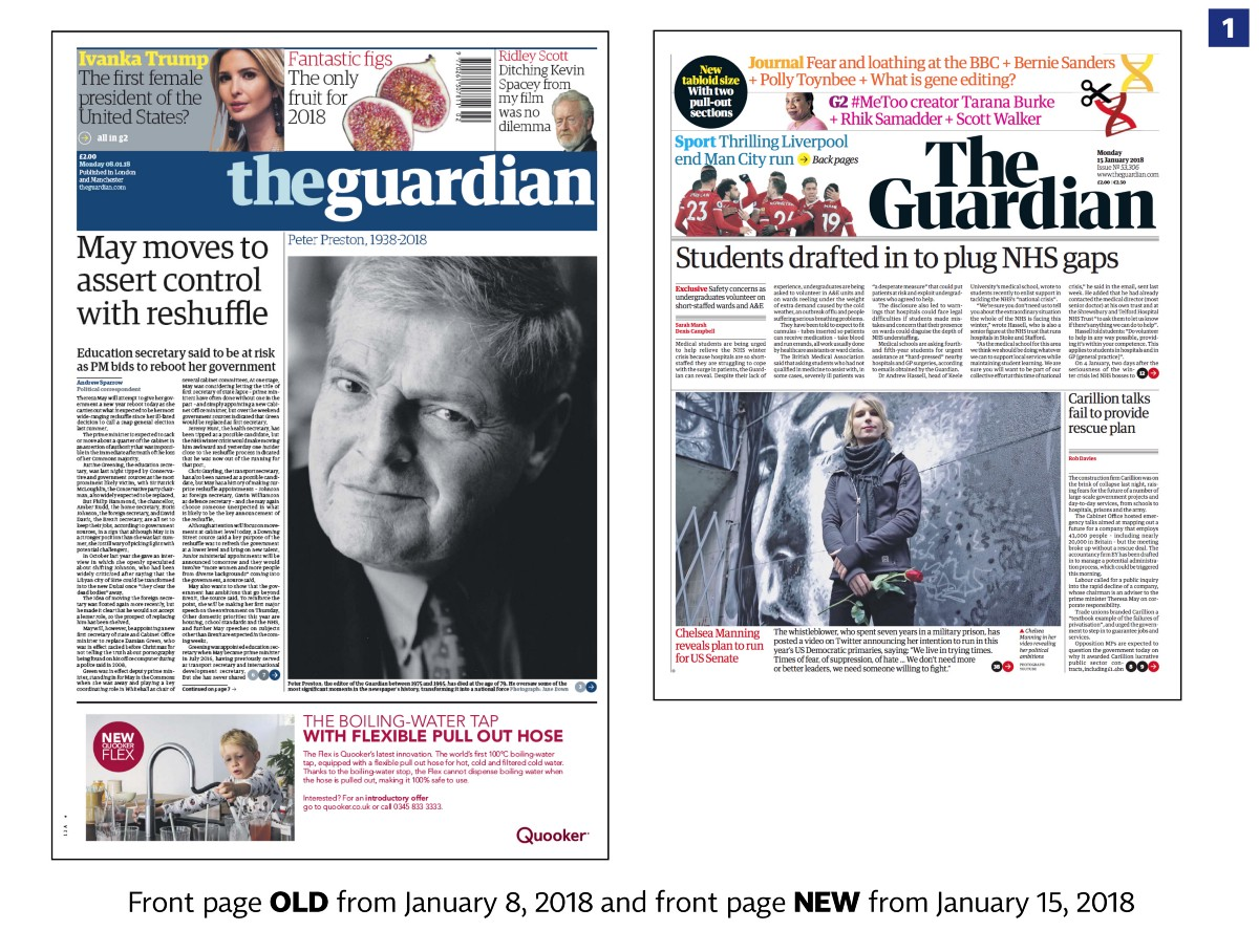 The Guardian with a new design in print web and app