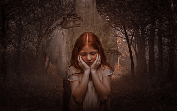 girl in forest with a ghost behind her