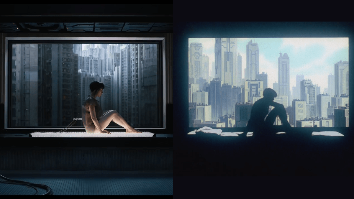 A love letter to Ghost in the Shell images of 30 shots in the 2017 movie recreated from the anime