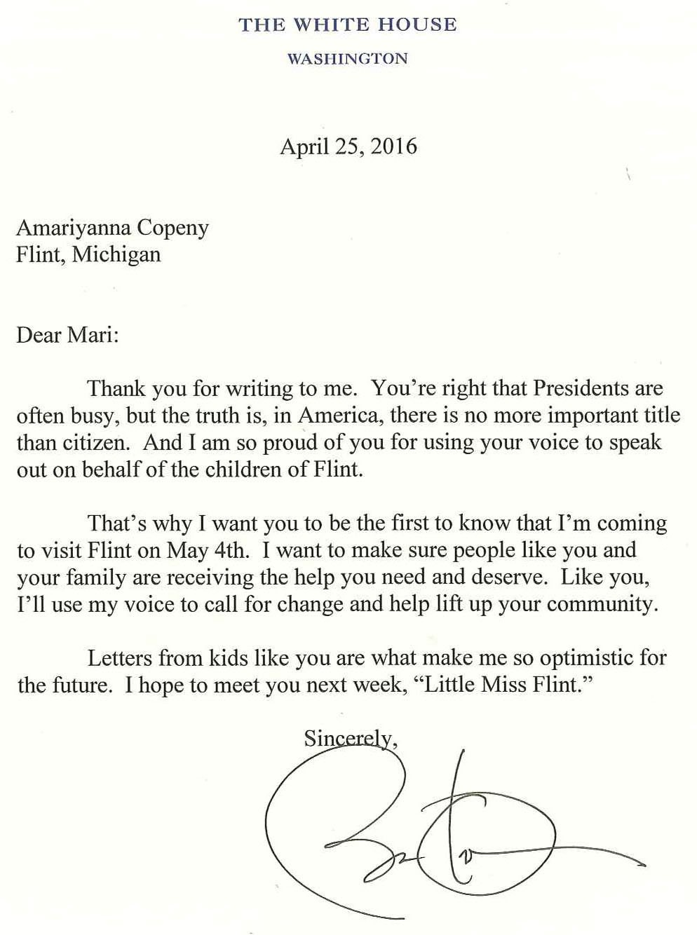 Asked and Answered President Obama Responds to an EightYearOld Girl from Flint