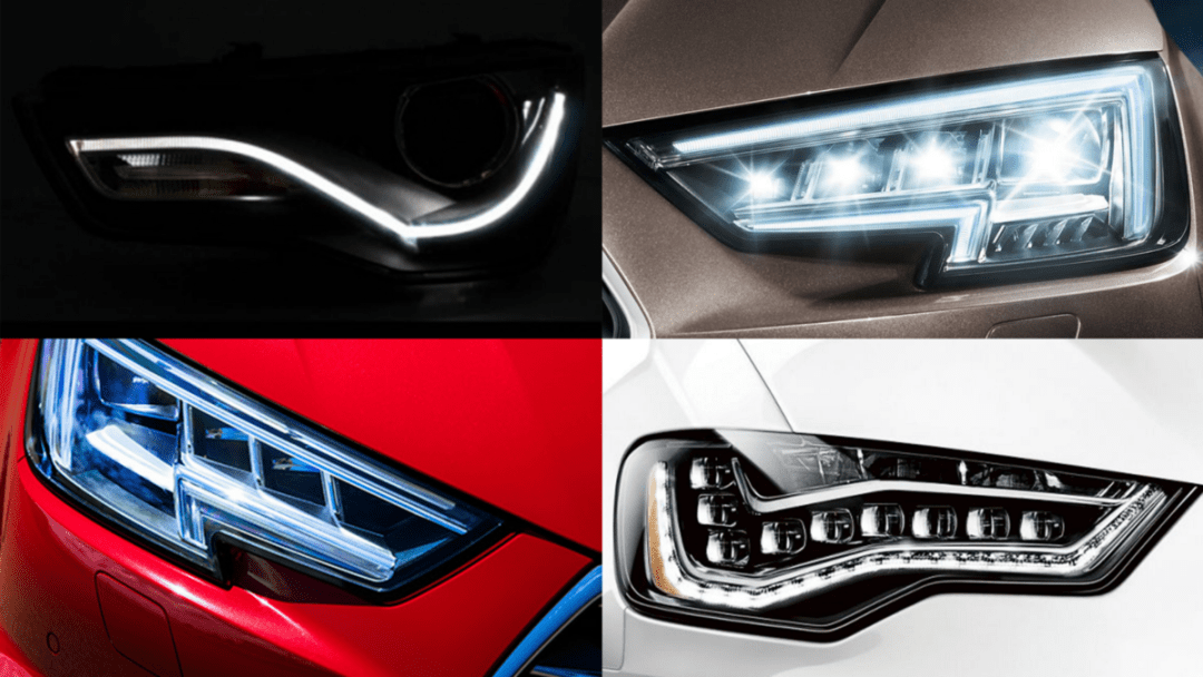 Headlights of different Audi Car brand