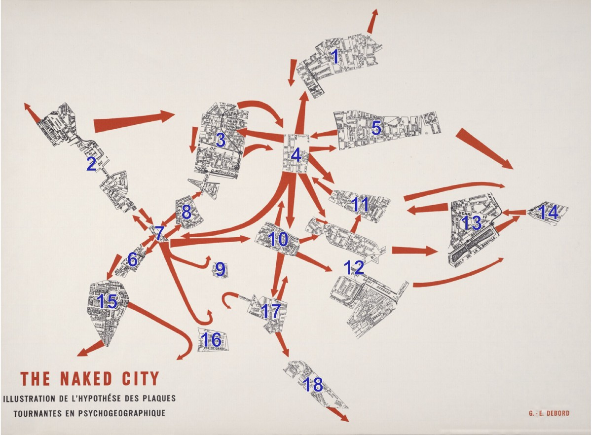 hight resolution of a popular example of psychogeography is guy debord s the naked city 1957 it s a subversive remapping of paris on the basis of a mobile architecture of
