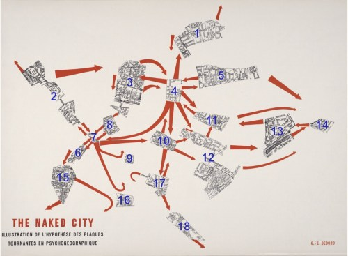 small resolution of a popular example of psychogeography is guy debord s the naked city 1957 it s a subversive remapping of paris on the basis of a mobile architecture of