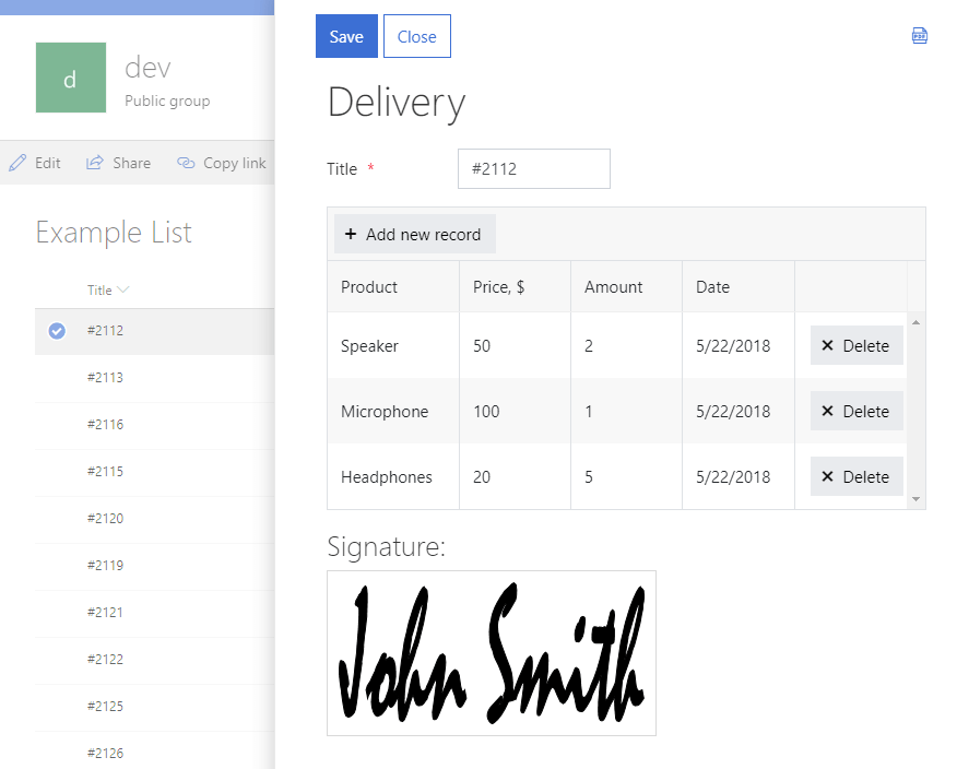 Save filled in table or signature controls directly to