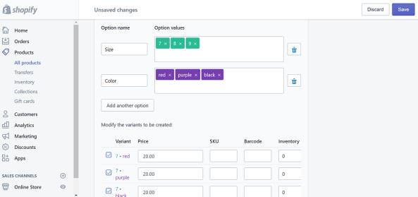 Shopify後台的商品上架設定,可以新增多個變數,包含不同尺寸跟顏色。每種變數都可以有不同標價。