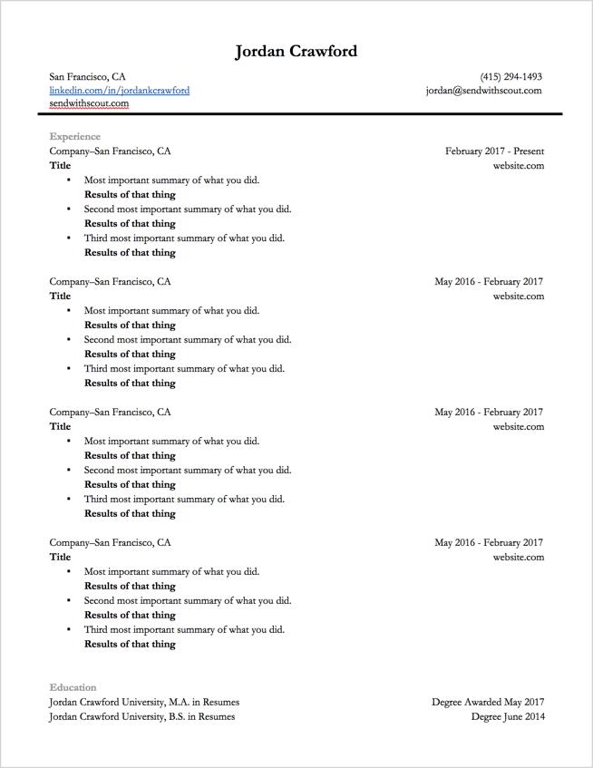 should i use a google resume template
