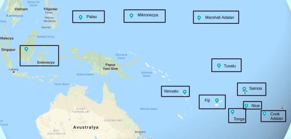 Okyanusya Vizesiz Ülkeler haritası