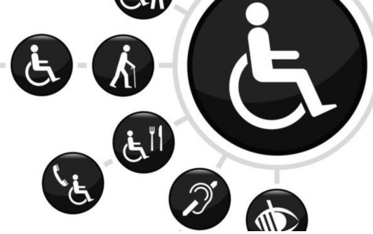 Image: Graphic intended to represent accessibility. The graphic contains round circles with black backgrounds and white graphics, There are multiple small circles connected with a line to a single larger circle that contains the a common symbol for disability (person in wheelchair). The smaller circles includes symbols for accessible: telephone services, restaurants, and symbols for deaf/DEAF, blind and other physic