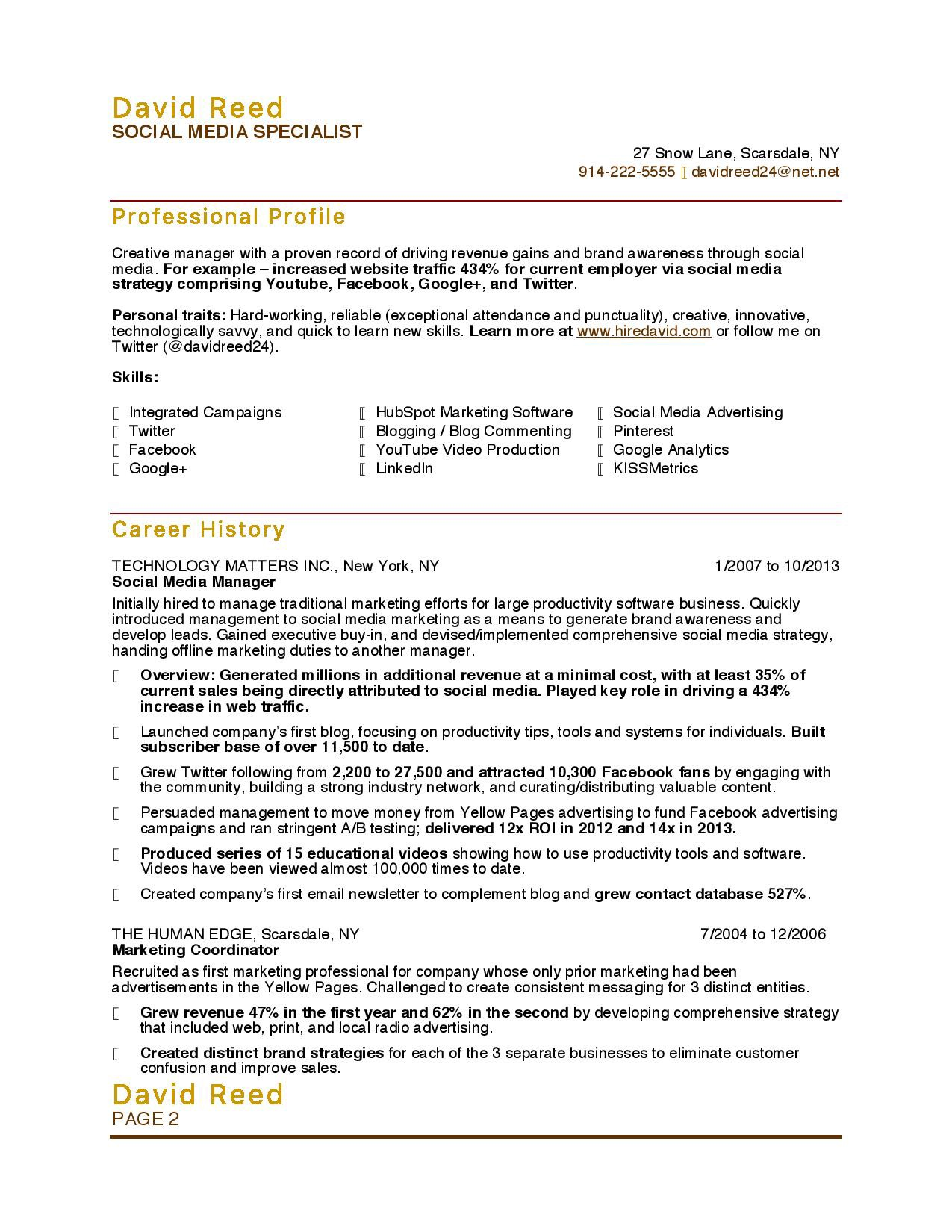 Sample Resume For Social Media Specialist 10 Marketing Resume Samples Hiring Managers Will Notice