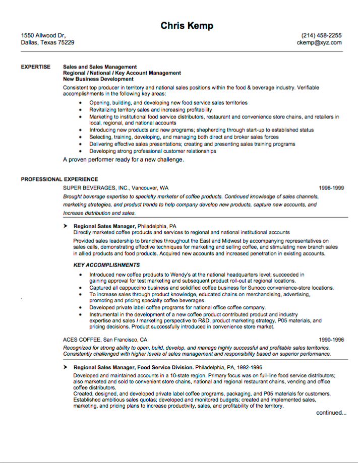 catering sales manager resume sample