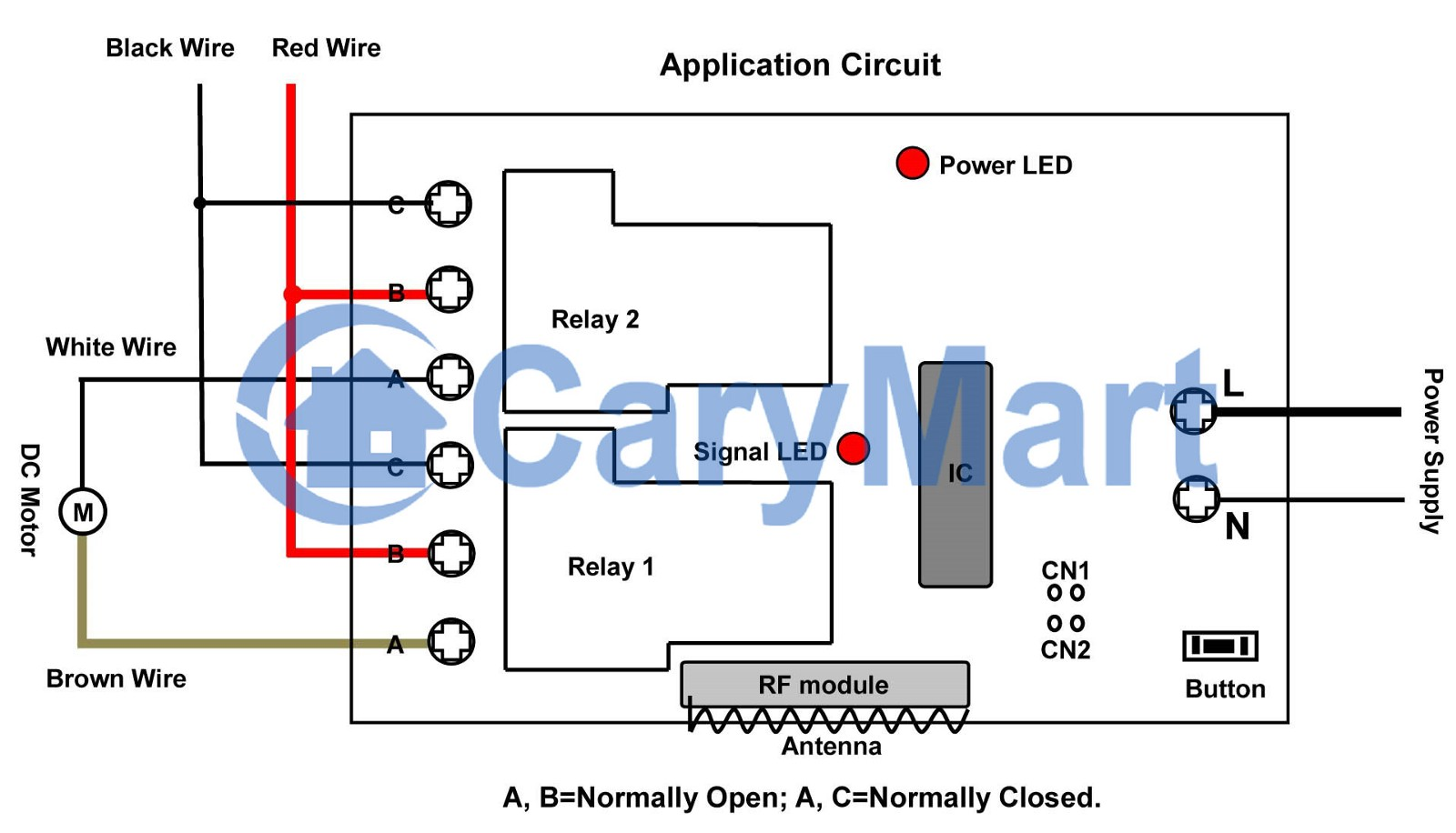hight resolution of so we drew a wiring diagram the black and red wires picture above will be connected to terminals c and terminals b on relay 1 relay 2 respectively