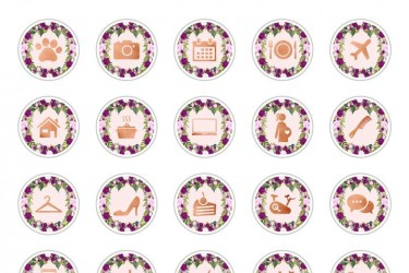 instagram highlight icon icons sets story thehungryjpeg brilliant aesthetic christmas pink purple floral medium any