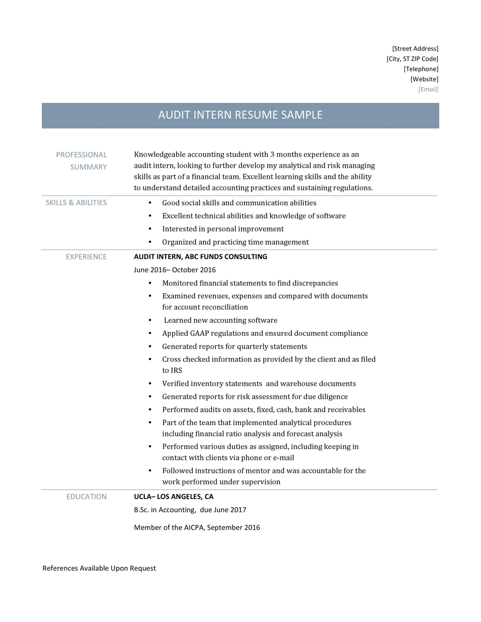 resume with internship details