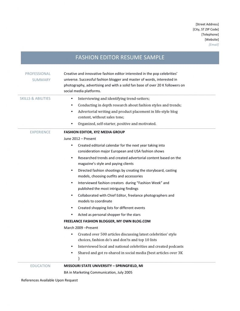 Fashion Blogger Resume Sample Fashion Editor Resume Template Online Resume Builders Medium