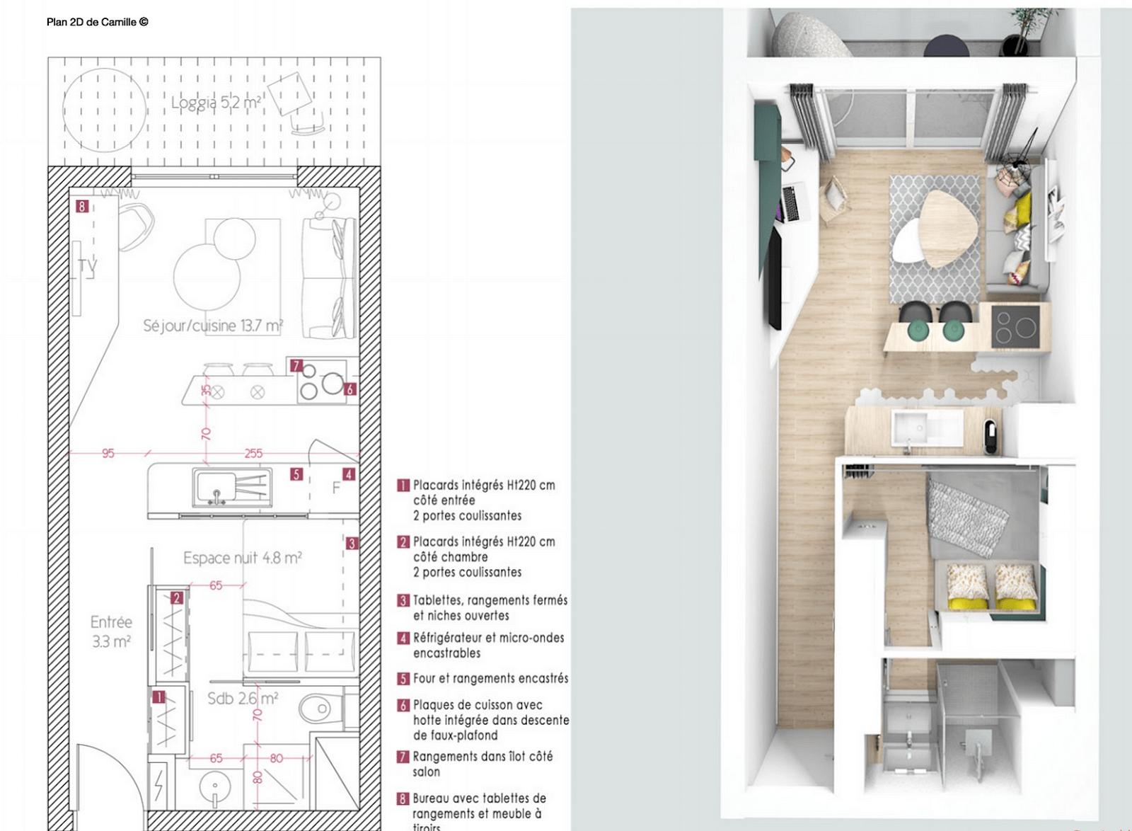 Plan Amenagement Salon Sejour décoration studio 25m2   suite parentale 25m2 avec plan