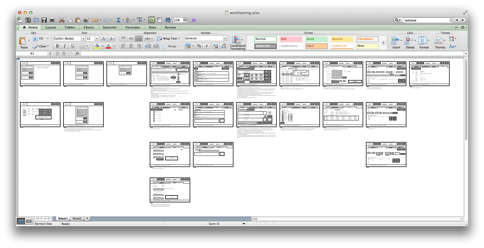 Wireframing with Excel – Louise Au Yeung
