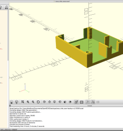 openscad in action specifically a rendering of the case sans lid  [ 1600 x 981 Pixel ]