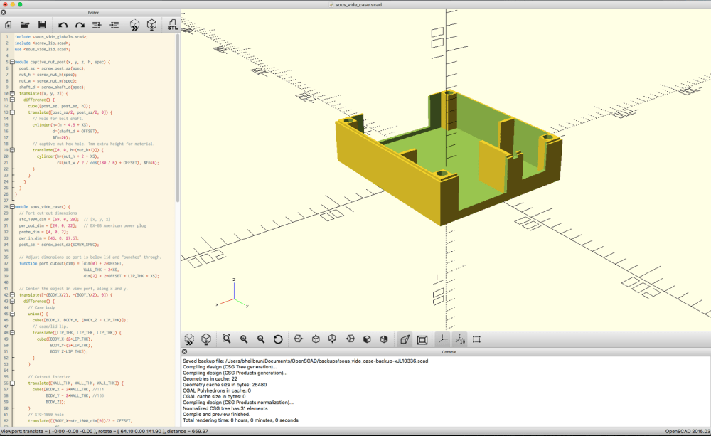 medium resolution of openscad in action specifically a rendering of the case sans lid